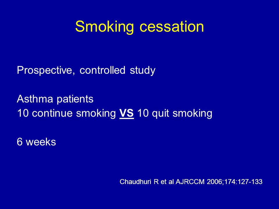 Smoking cessation Prospective, controlled study Asthma patients