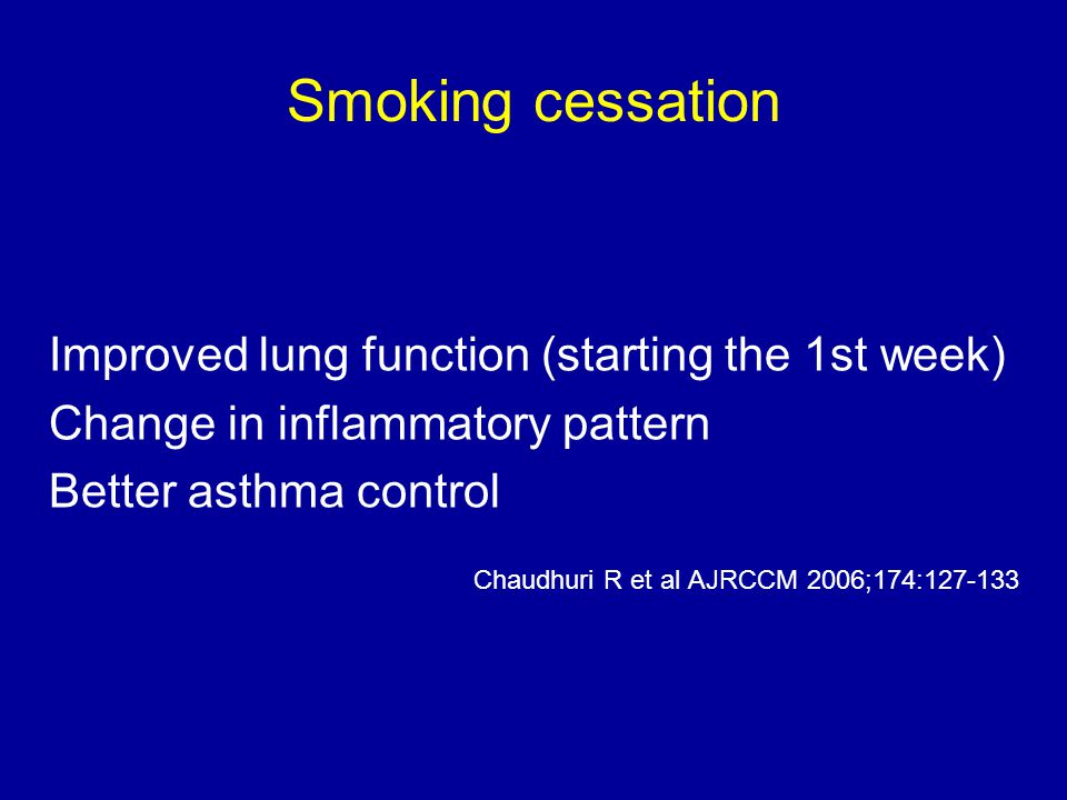 Smoking cessation Improved lung function (starting the 1st week)