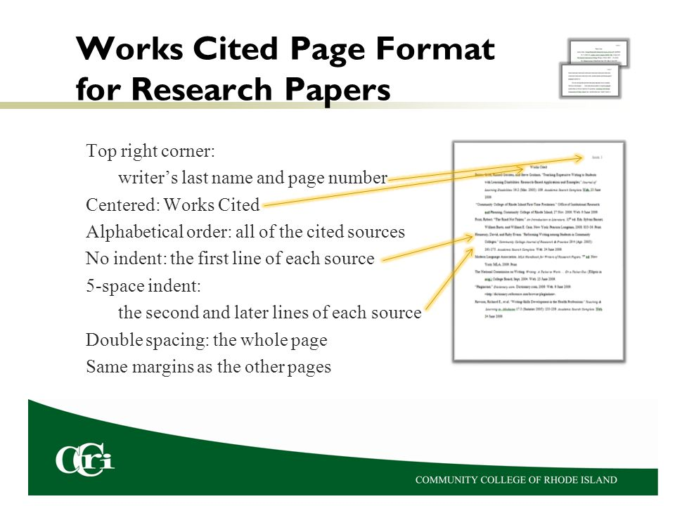 works cited page of a research paper format This resource, updated to reflect the mla handbook (8 th ed), offers examples for the general format of mla research papers, in-text citations, endnotes/footnotes, and the works cited page according to mla style, you must have a works cited page at the end of your research paper.