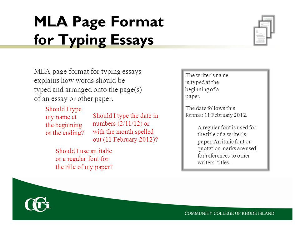 MLA Page Format for Typing Essays