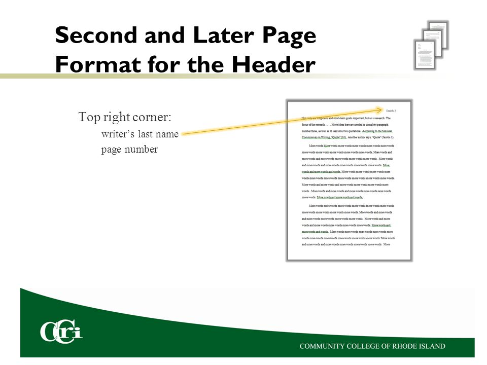 Second and Later Page Format for the Header