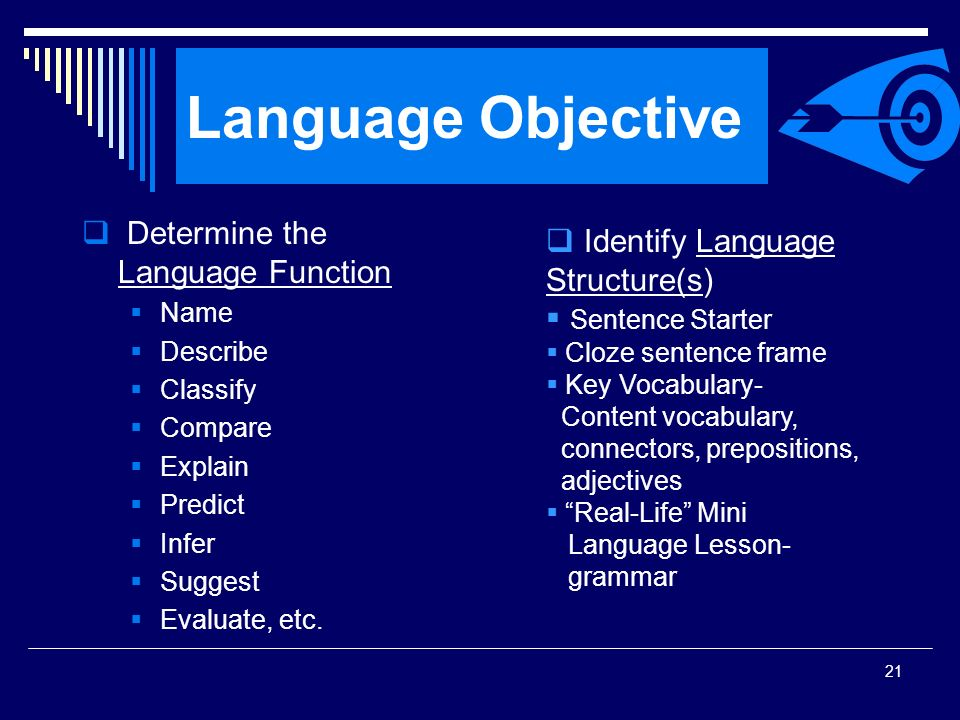 Language Objective Determine the Language Function