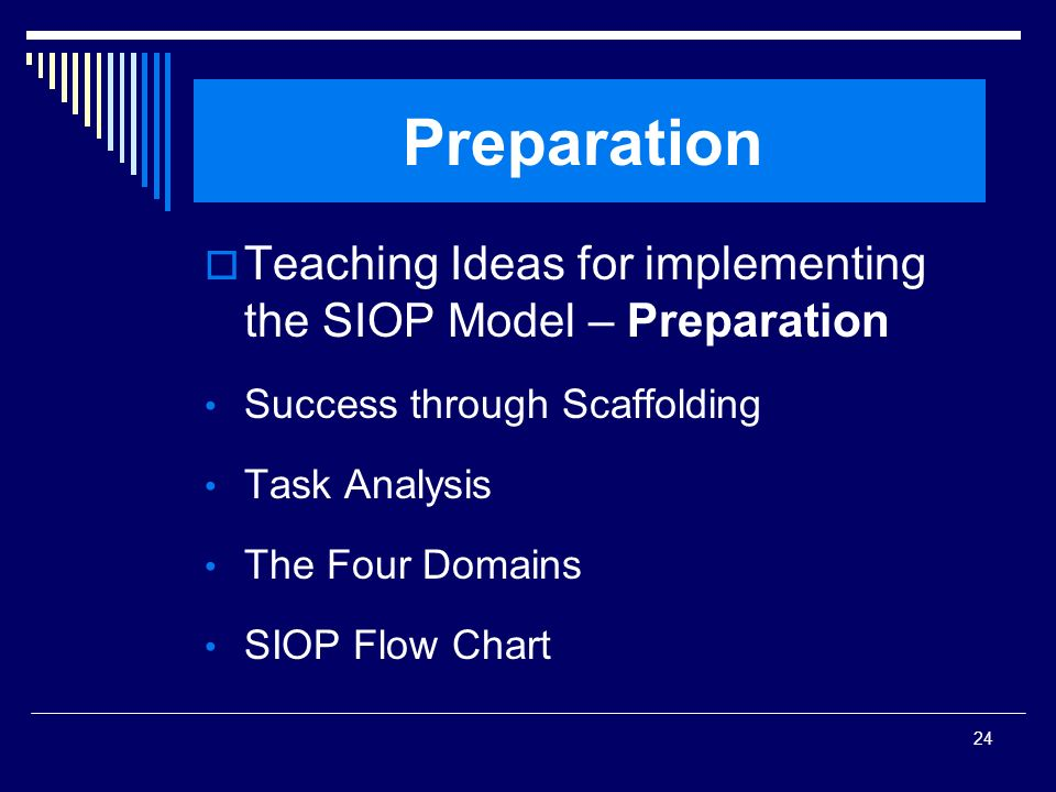 SIOP Workshop 2008 Preparation. Teaching Ideas for implementing the SIOP Model – Preparation. Success through Scaffolding.
