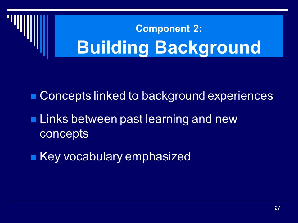 Component 2: Building Background