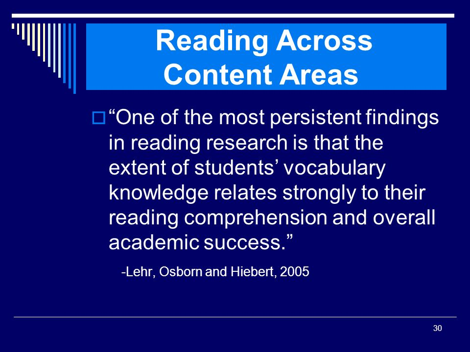 Reading Across Content Areas