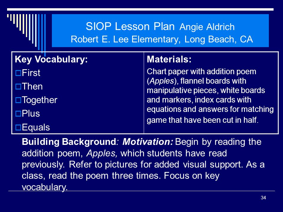 SIOP Workshop 2008 SIOP Lesson Plan Angie Aldrich Robert E. Lee Elementary, Long Beach, CA. Key Vocabulary: