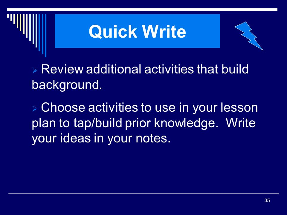 Quick Write Review additional activities that build background.