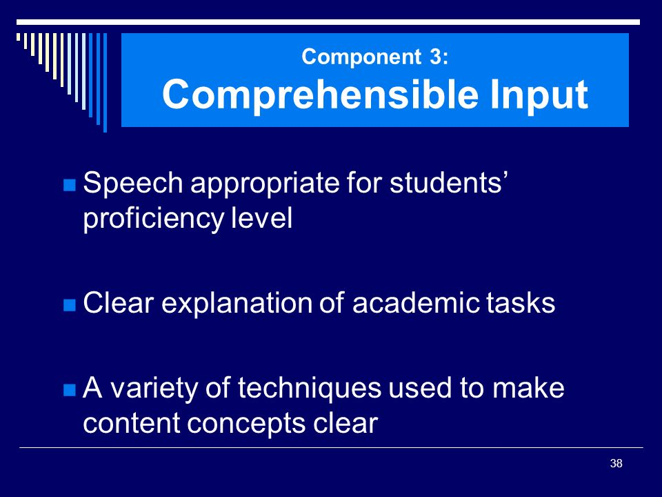 Component 3: Comprehensible Input