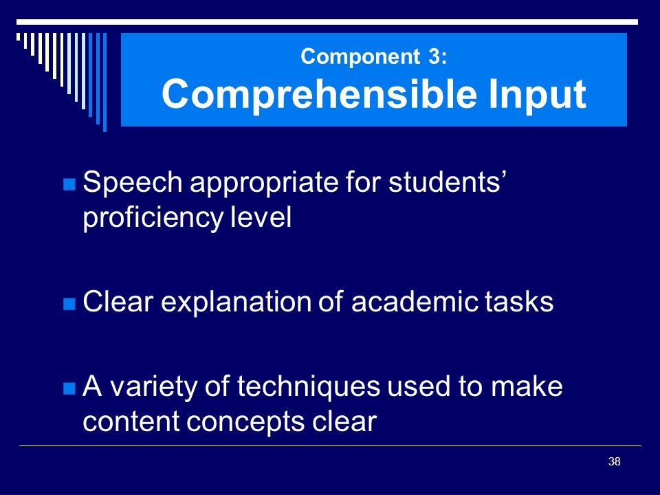 Component 3: Comprehensible Input
