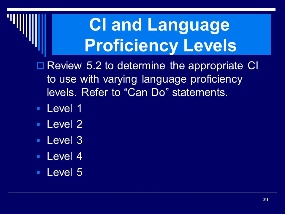 CI and Language Proficiency Levels