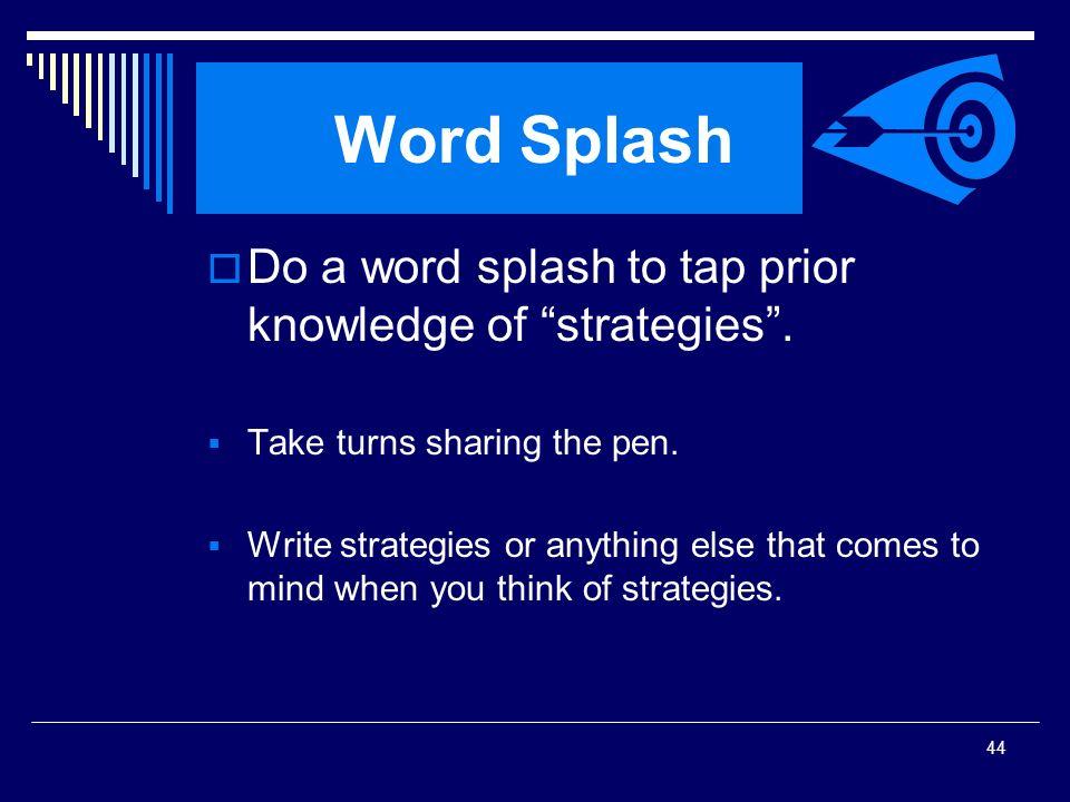 Word Splash Do a word splash to tap prior knowledge of strategies .