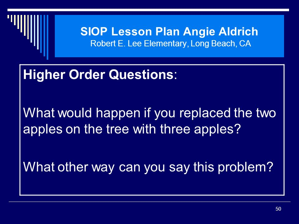 Higher Order Questions:
