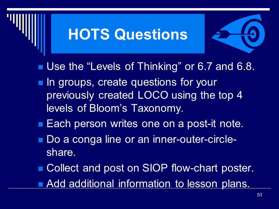 HOTS Questions Use the Levels of Thinking or 6.7 and 6.8.