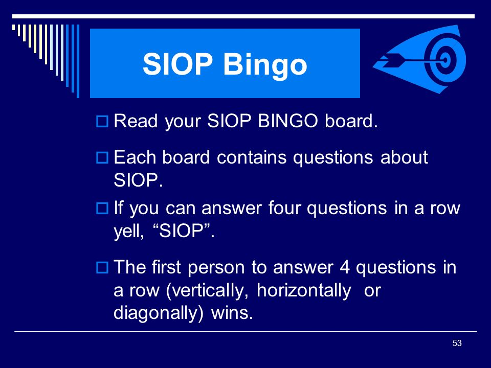 SIOP Bingo Read your SIOP BINGO board.