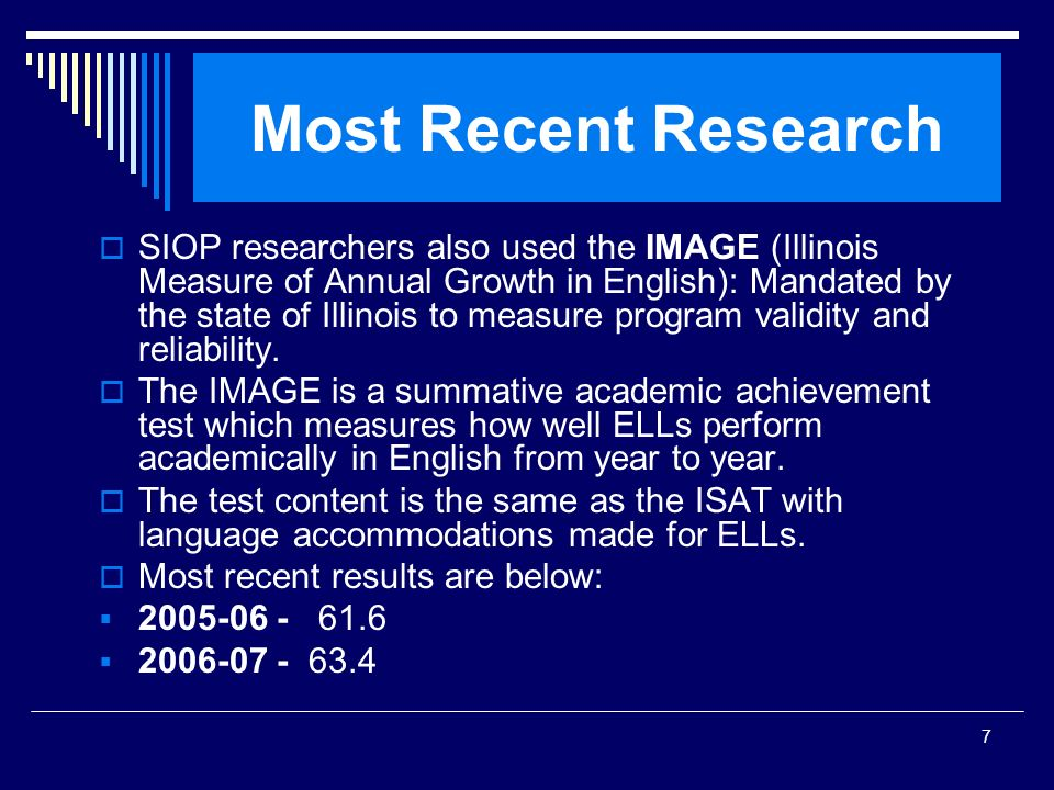 SIOP Workshop 2008 Most Recent Research.