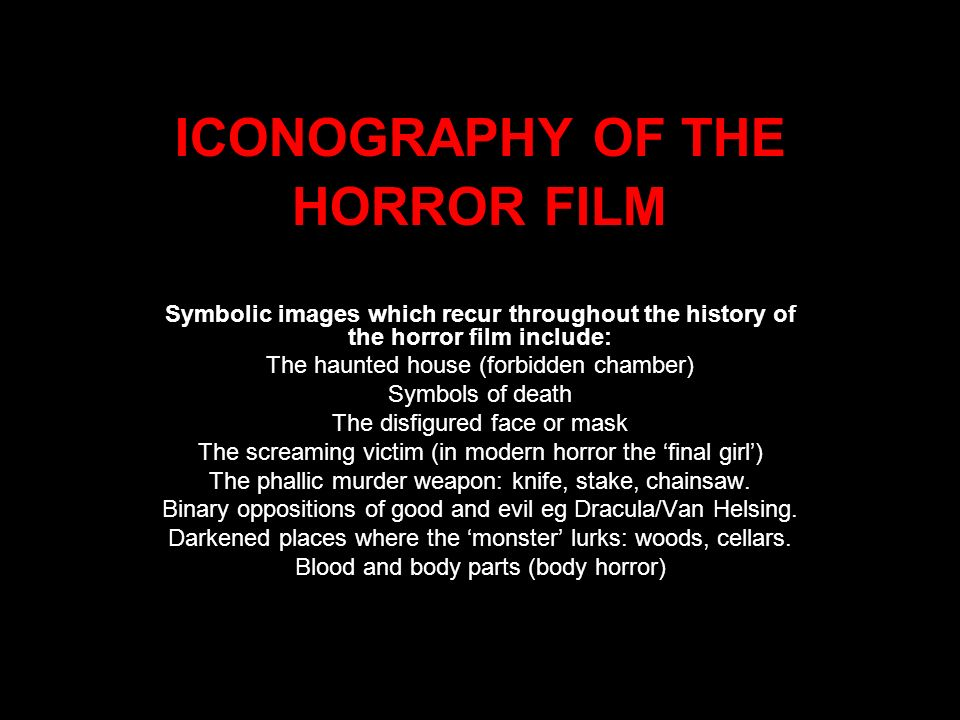ICONOGRAPHY OF THE HORROR FILM