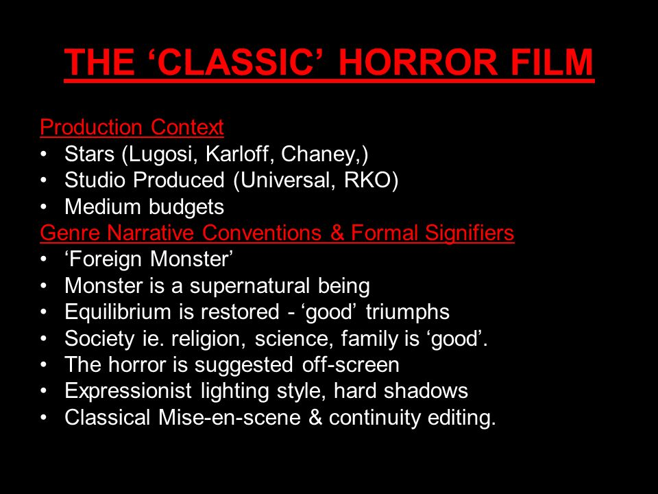 THE 'CLASSIC' HORROR FILM