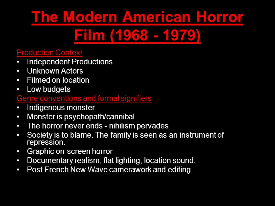 The Modern American Horror Film (1968 - 1979)