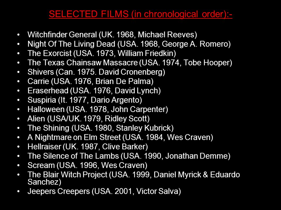 SELECTED FILMS (in chronological order):-