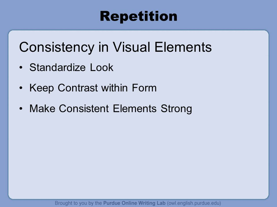 Consistency in Visual Elements