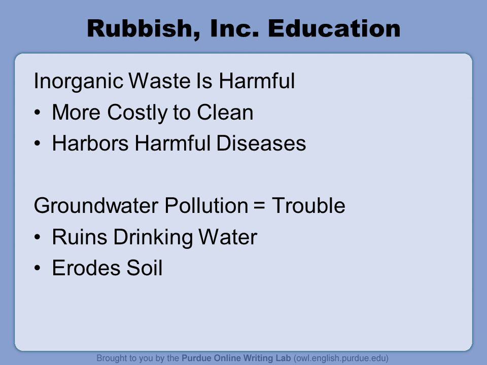 Rubbish, Inc. Education Inorganic Waste Is Harmful
