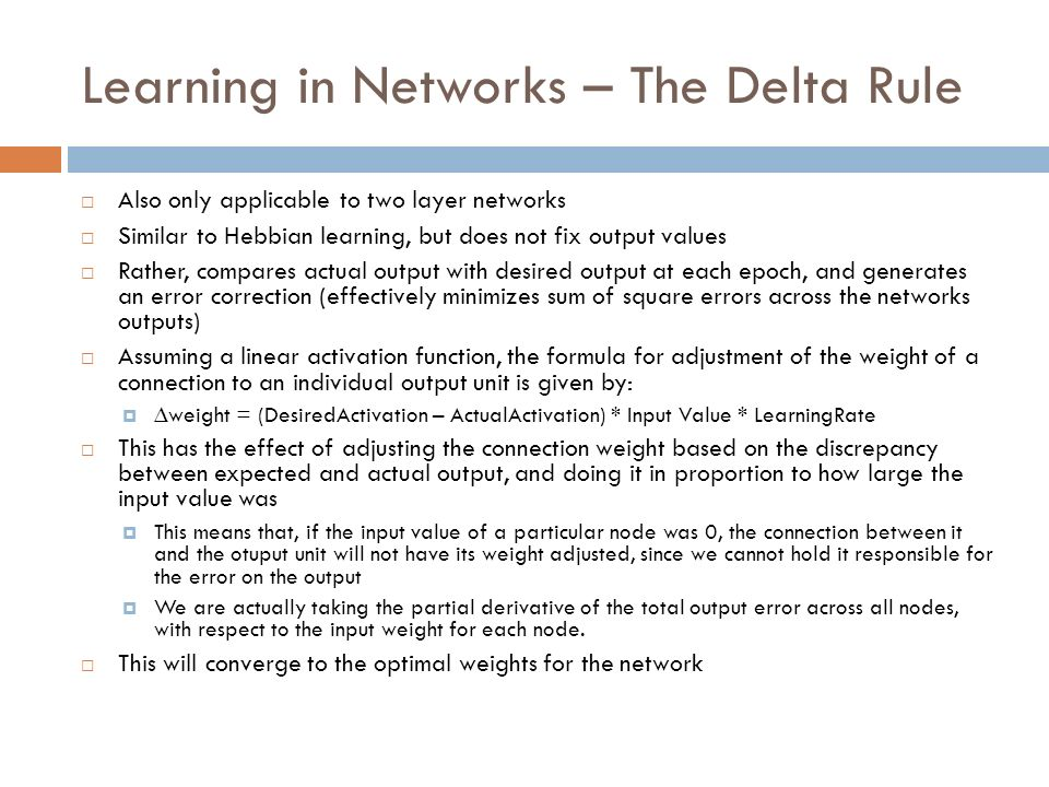 Learning in Networks – The Delta Rule