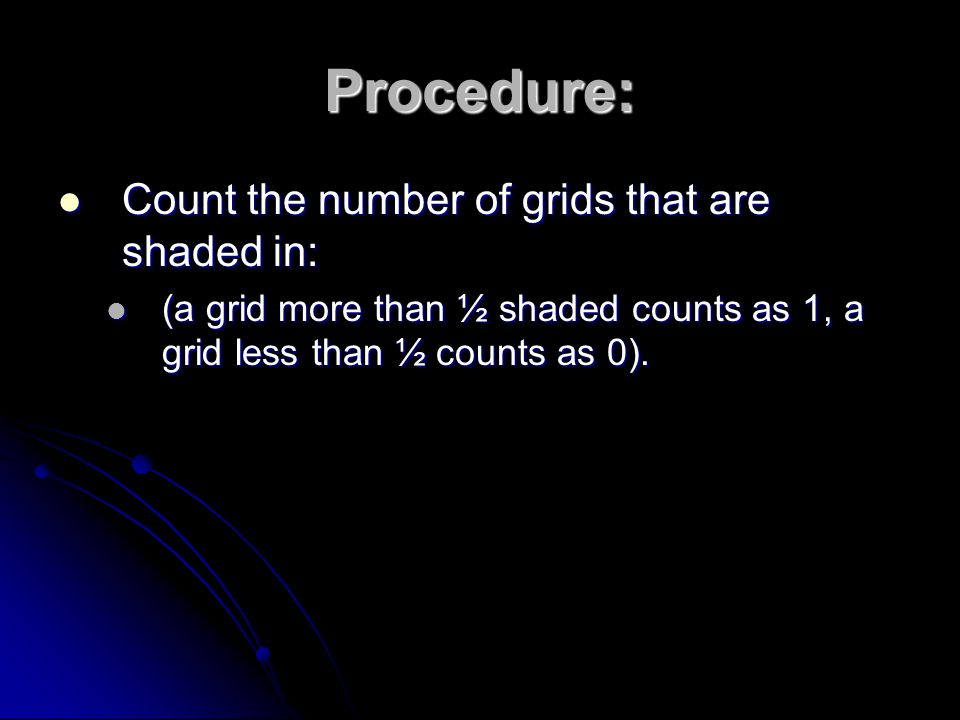 Procedure: Count the number of grids that are shaded in:
