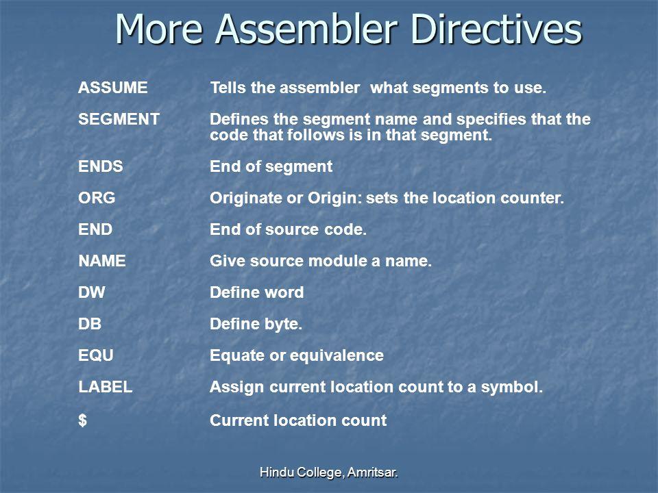 More Assembler Directives
