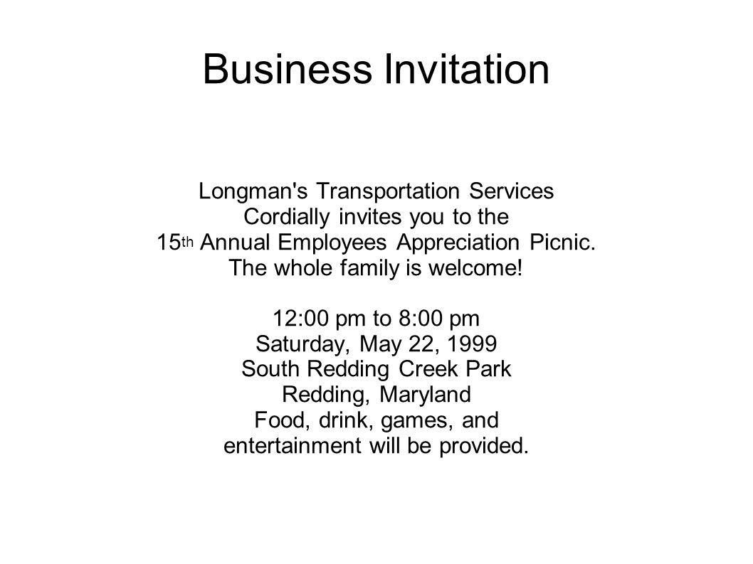 Business Invitation Longman s Transportation Services