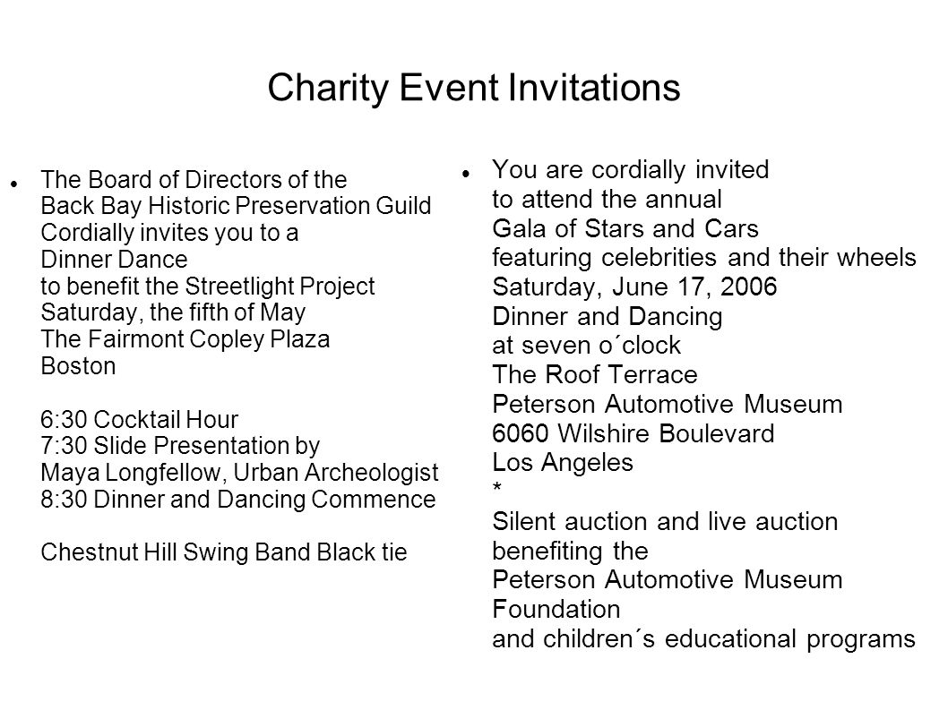 Charity Event Invitations