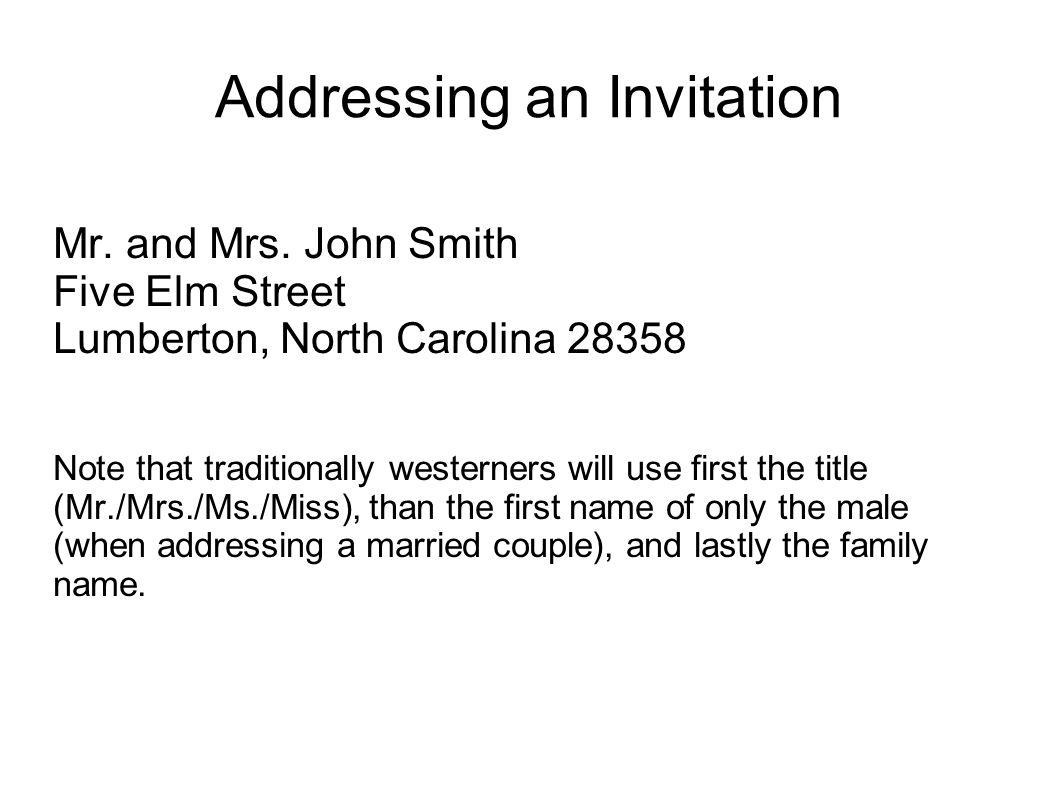 Addressing an Invitation