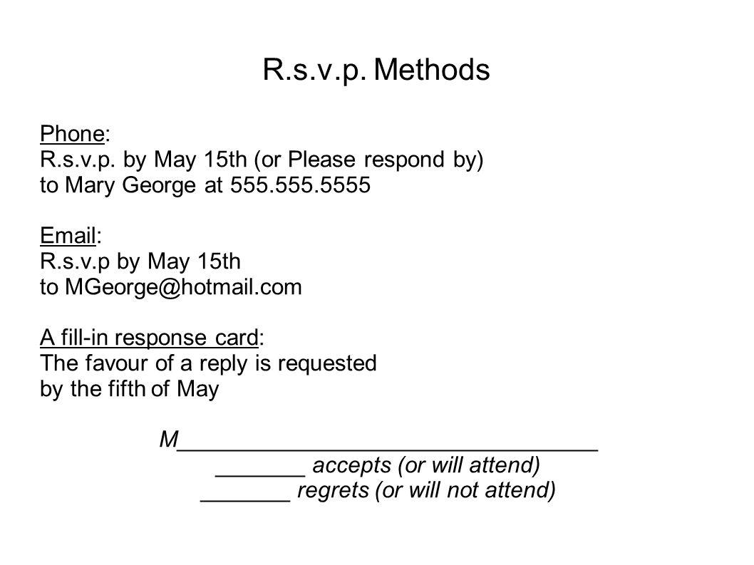 R.s.v.p. Methods