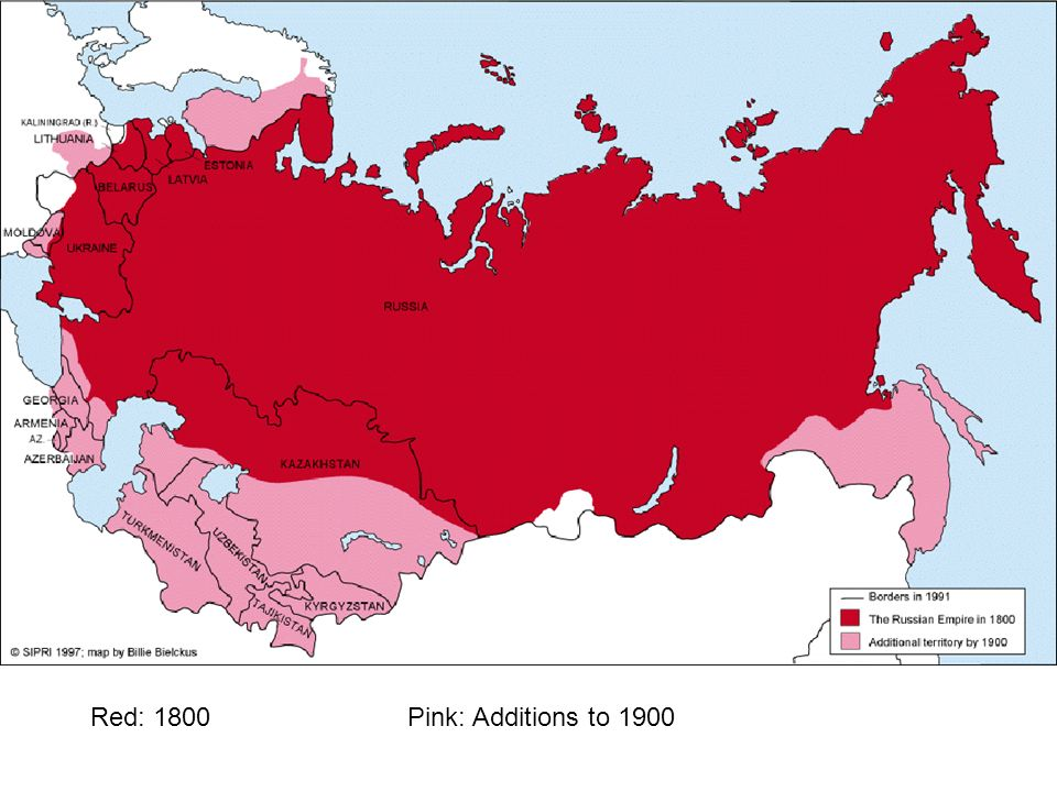 Red: 1800 Pink: Additions to 1900