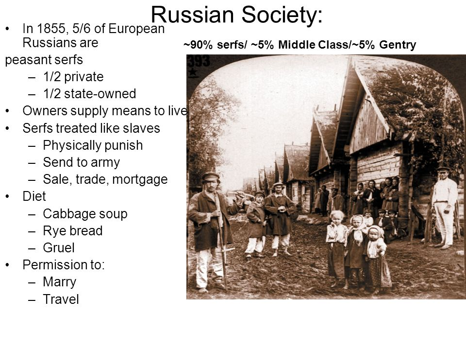 Russian Society: In 1855, 5/6 of European Russians are peasant serfs