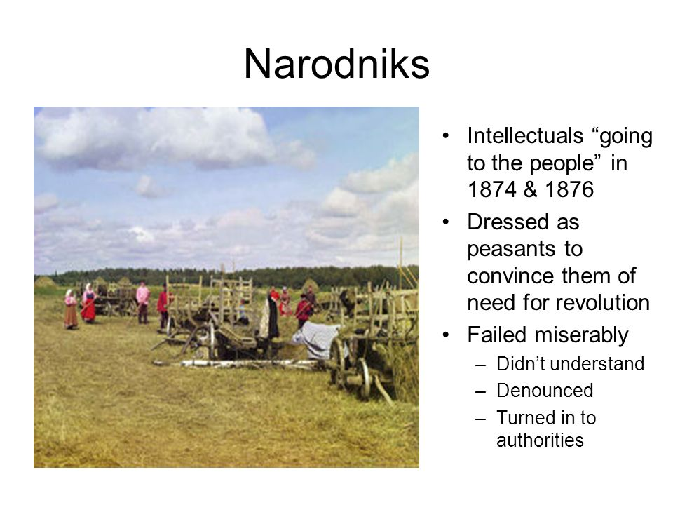 Narodniks Intellectuals going to the people in 1874 & 1876