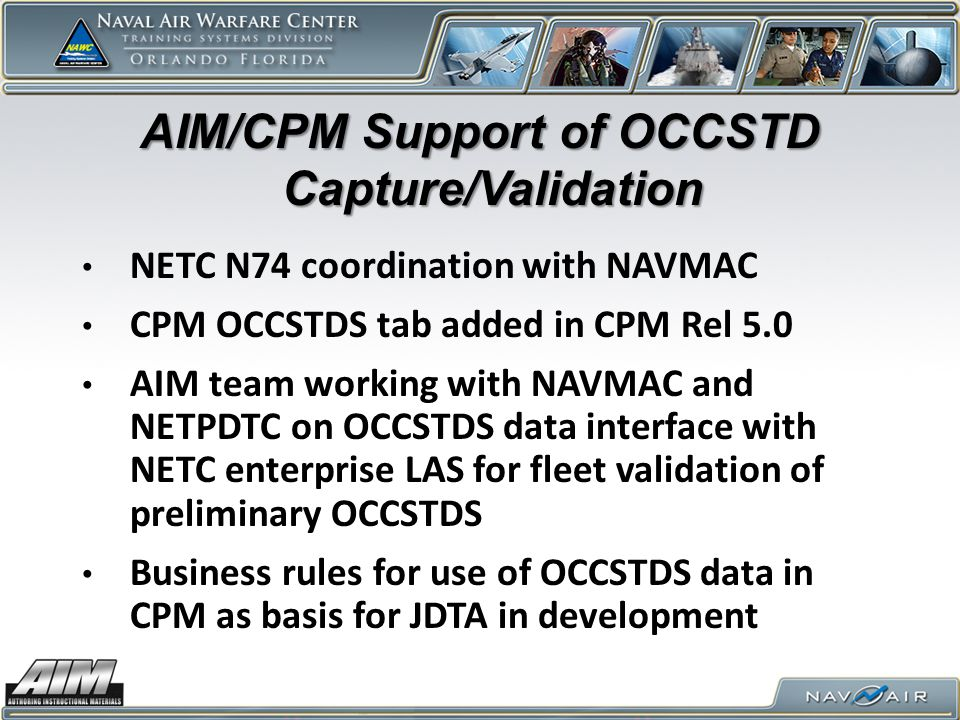 AIM/CPM Support of OCCSTD Capture/Validation