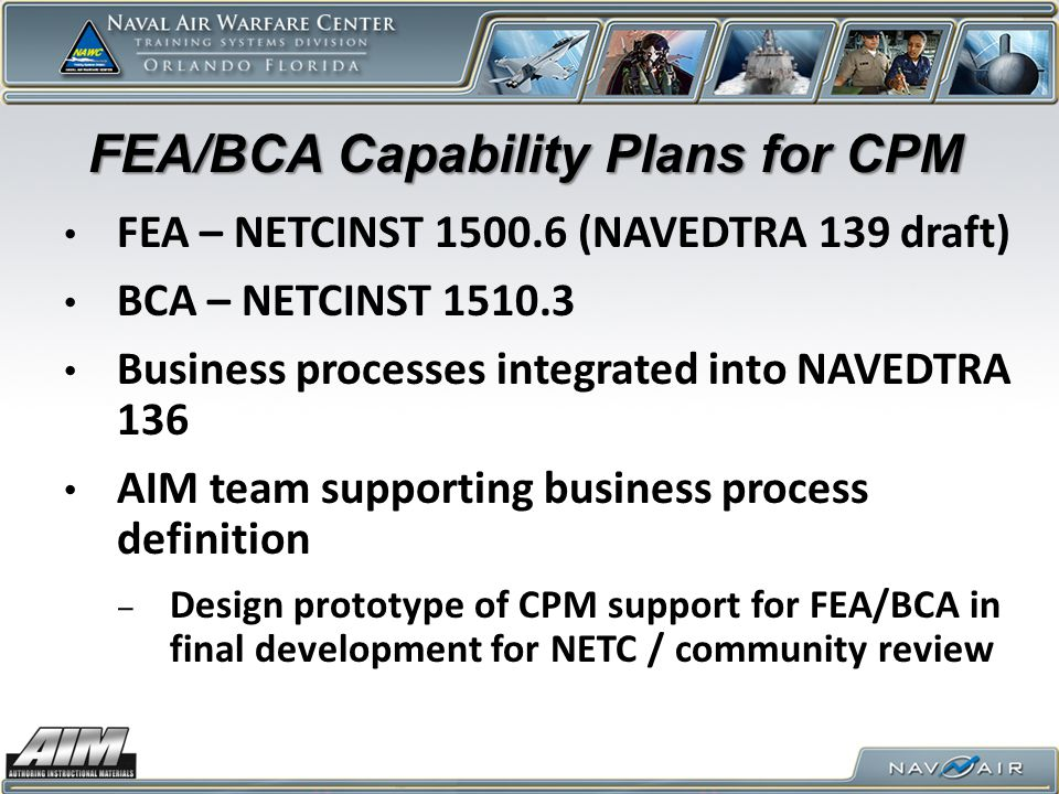 FEA/BCA Capability Plans for CPM