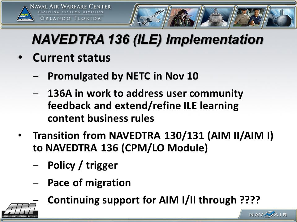 NAVEDTRA 136 (ILE) Implementation
