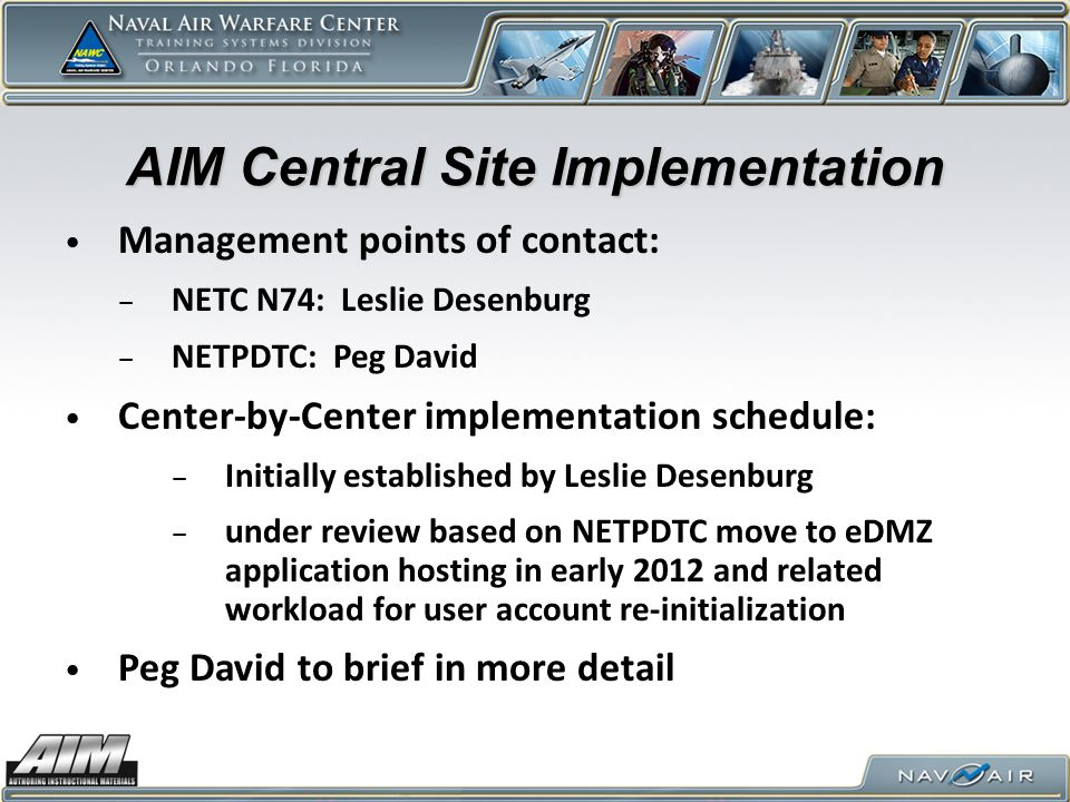AIM Central Site Implementation
