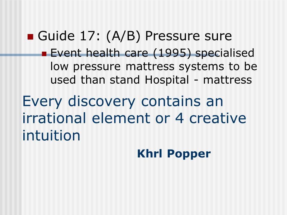 Guide 17: (A/B) Pressure sure