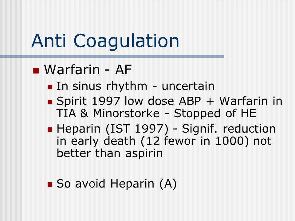 Anti Coagulation Warfarin - AF In sinus rhythm - uncertain