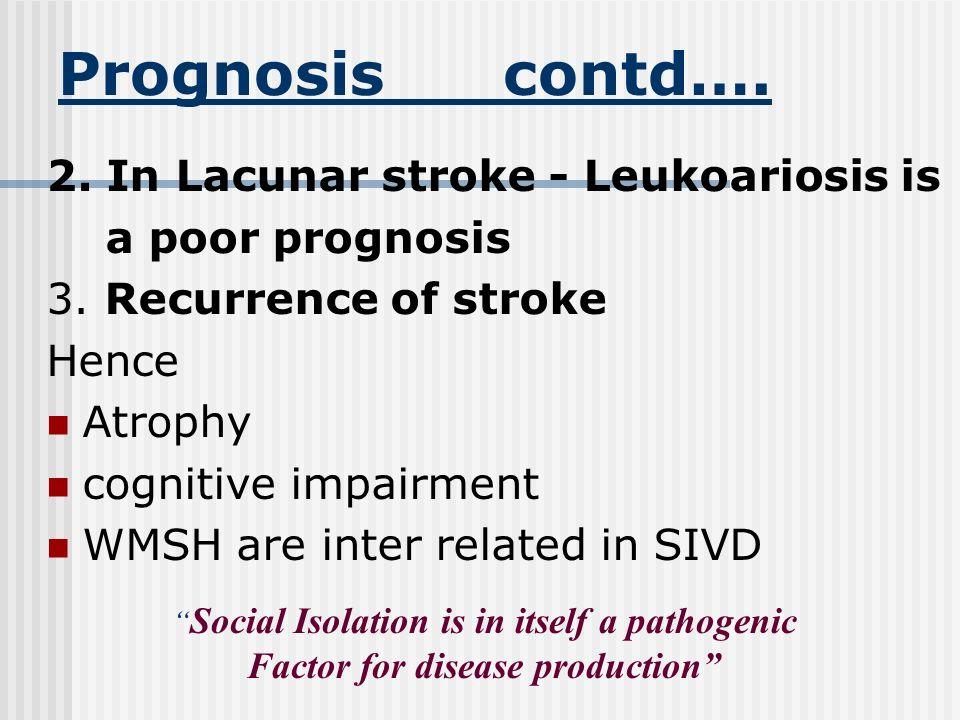 Prognosis contd…. 2. In Lacunar stroke - Leukoariosis is