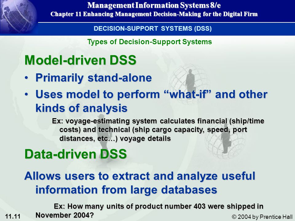 Model-driven DSS Data-driven DSS Primarily stand-alone