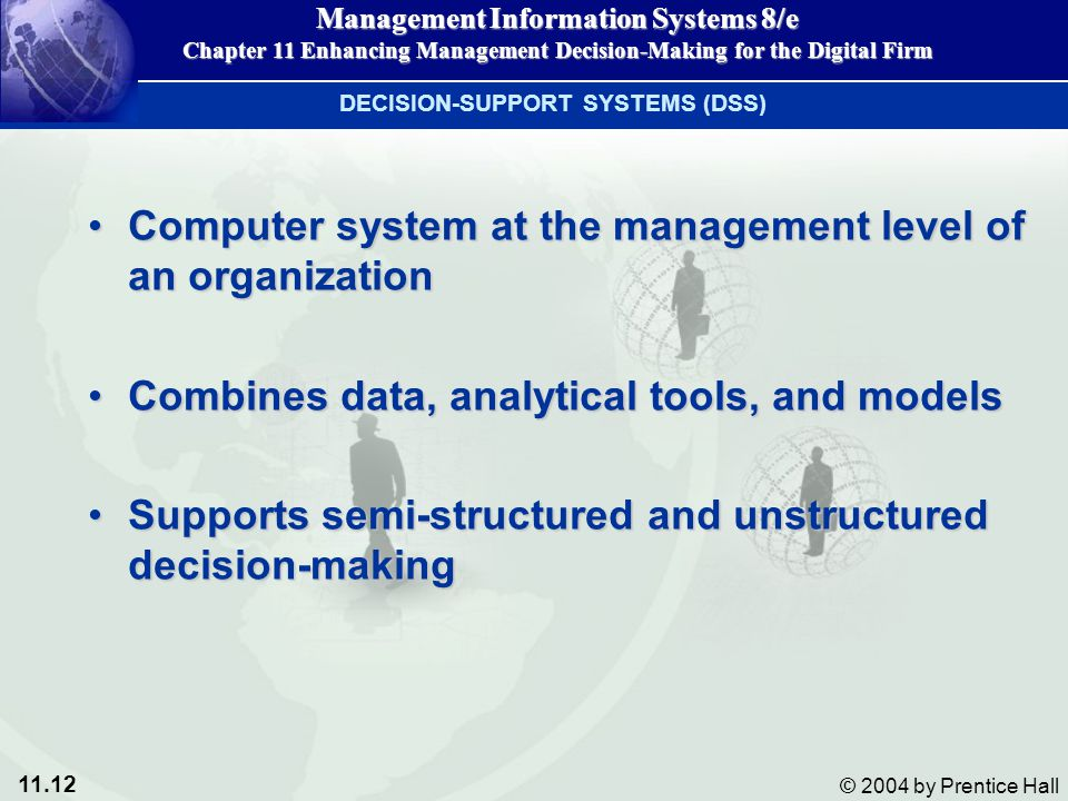 Computer system at the management level of an organization