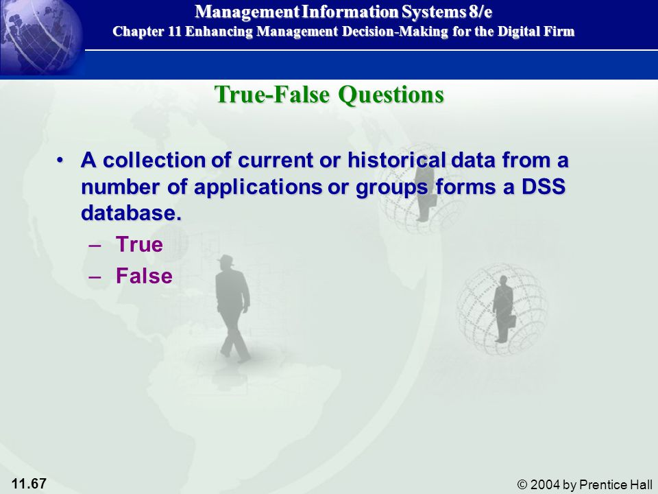 True-False Questions A collection of current or historical data from a number of applications or groups forms a DSS database.