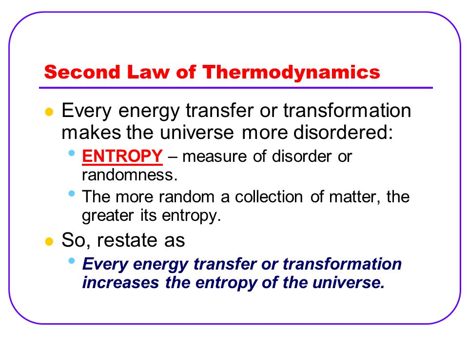 an introduction to the second law of thermodynamics The second law of thermodynamics asserts that processes occur in a certain  direction and that the energy has quality as well as quantity the first law places  no.
