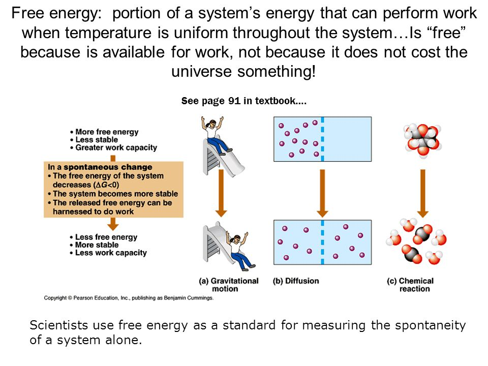 Free energy: portion of a system's energy that can perform work when temperature is uniform throughout the system…Is free because is available for work, not because it does not cost the universe something! See page 91 in textbook….
