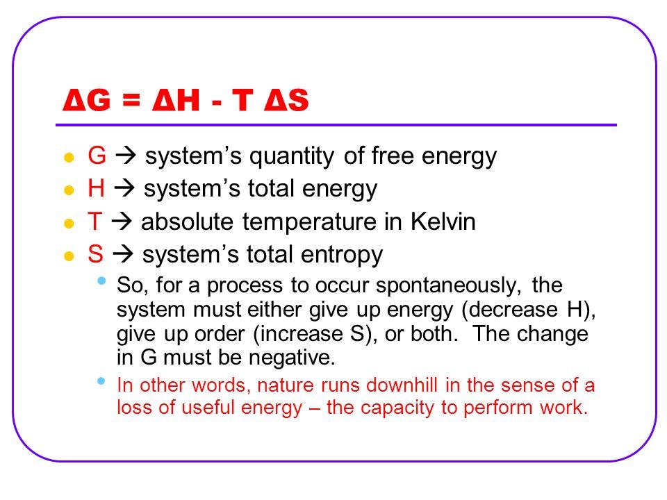 ΔG = ΔH - T ΔS G  system's quantity of free energy