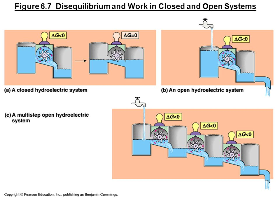 Figure 6.7 Disequilibrium and Work in Closed and Open Systems