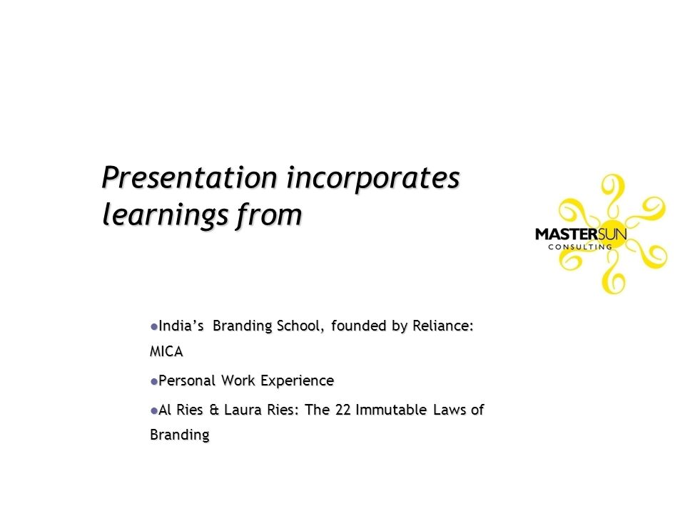 Presentation incorporates learnings from